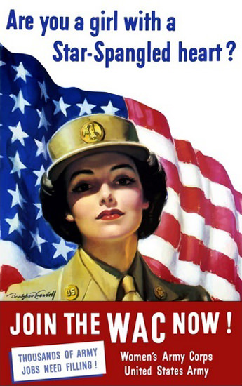 Are You A Girl With A Star-Spangled Heart WAC | Vintage War Propaganda Posters 1891-1970