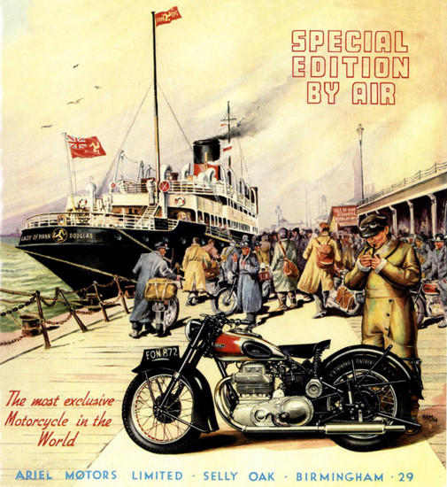 Ariel Motorcycles Special Edition By Air 1949 | Vintage Travel Posters 1891-1970