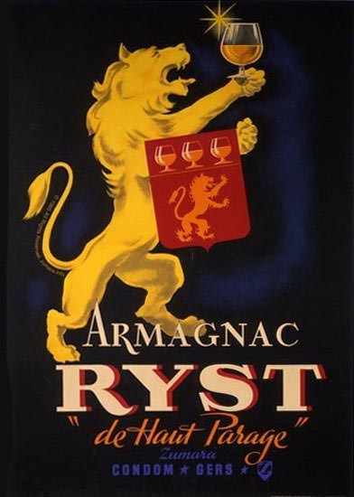 Armagnac Ryst De Haut Parage Lion | Vintage Ad and Cover Art 1891-1970