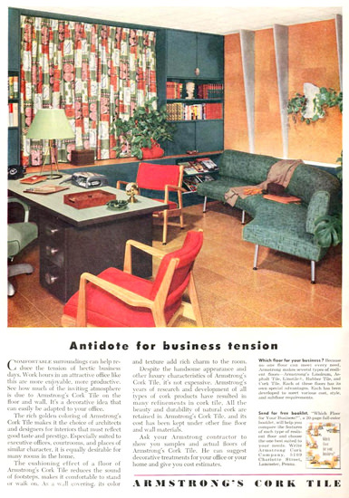 Armstrong Cork Tile Business Tension 1951 | Vintage Ad and Cover Art 1891-1970