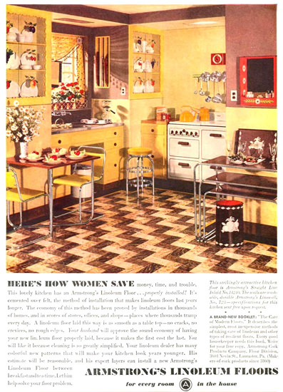 Armstrong Linoleum Floors Women Save 1936 | Vintage Ad and Cover Art 1891-1970