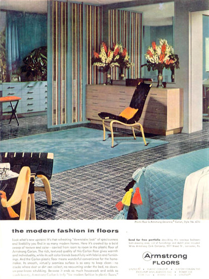 Armstrong Modern Fashion In Floors 1955 | Vintage Ad and Cover Art 1891-1970