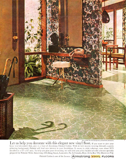 Armstrong Vinyl Floors Decorate Elegant 1961 | Vintage Ad and Cover Art 1891-1970