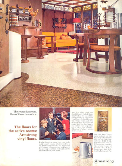Armstrong Vinyl Floors For Active Rooms 1966   Vintage Ad and Cover Art 1891-1970