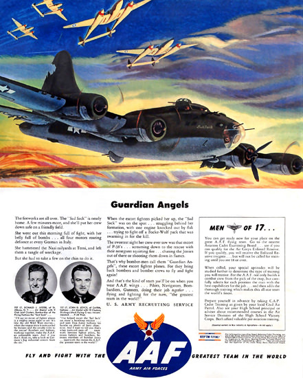 Army Air Forces AAF Guardian Angels | Vintage War Propaganda Posters 1891-1970