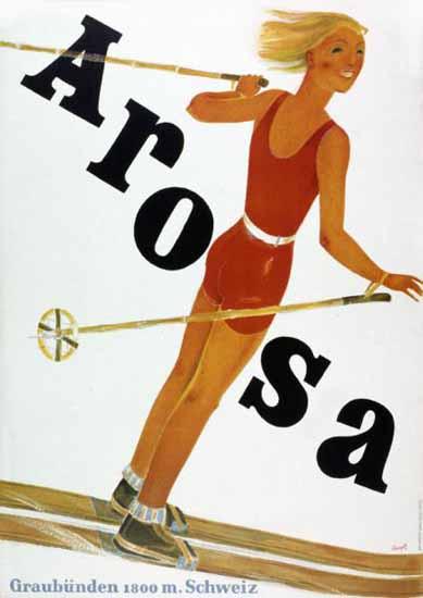 Arosa Graubünden 1800m Schweiz Switzerland 1932 | Vintage Travel Posters 1891-1970