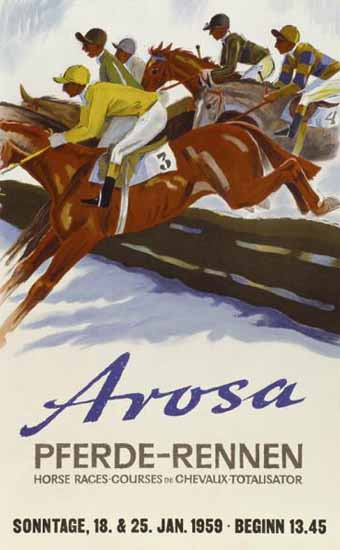 Arosa PferdeRennen HorseRaces Switzerland 1939 | Vintage Travel Posters 1891-1970