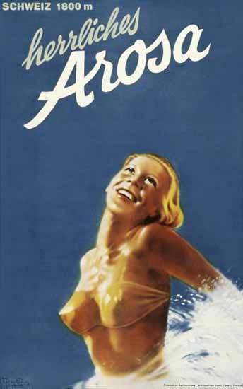 Arosa Schweiz 1800m Herrliches Arosa Switzerland 1935 | Vintage Travel Posters 1891-1970