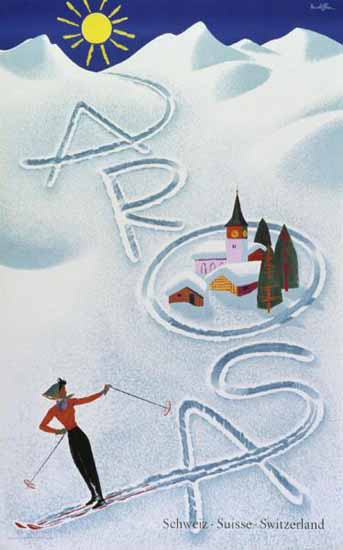 Arosa Snow Sun Skiing Switzerland 1956 | Vintage Travel Posters 1891-1970