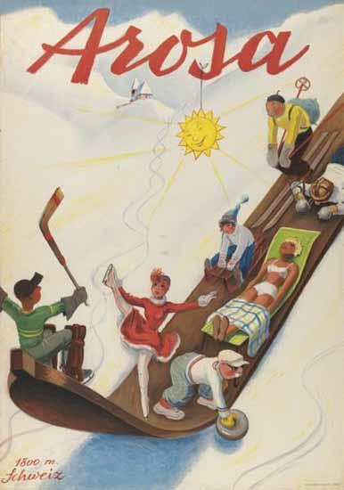 Arosa Sport Fun Sun Switzerland 1937   Vintage Travel Posters 1891-1970
