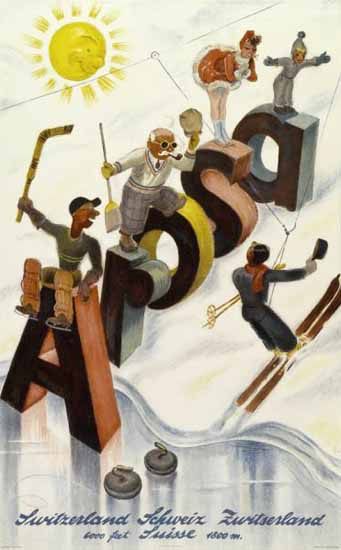 Arosa Sport Fun Sun Switzerland 1938 | Vintage Travel Posters 1891-1970