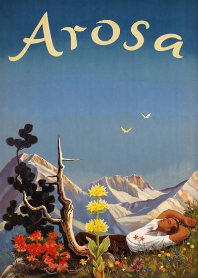 Arosa Swiss Alps Switzerland 1944 | Vintage Travel Posters 1891-1970