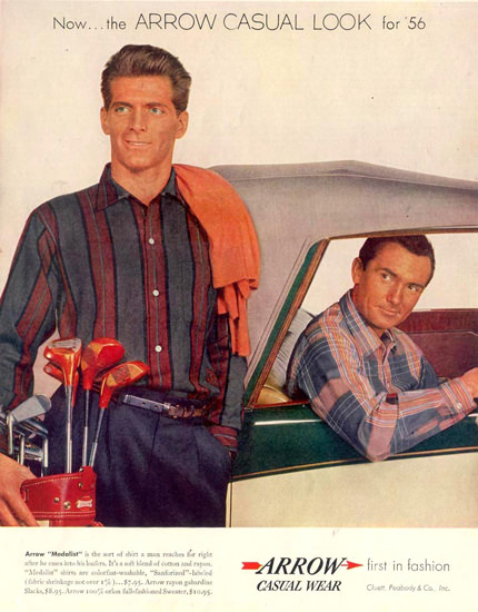 Arrow Casual Wear For Men 1955 | Sex Appeal Vintage Ads and Covers 1891-1970