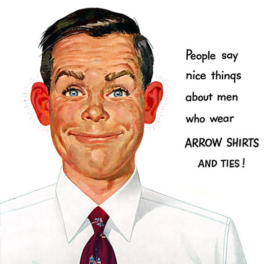 Arrow Shirts And Ties Say Nice Things 1950 | Sex Appeal Vintage Ads and Covers 1891-1970