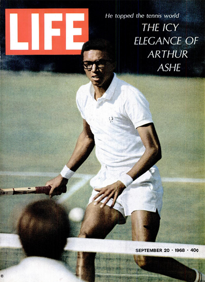 Arthur Ashe wins first open US Open 20 Sep 1968 Copyright Life Magazine   Life Magazine Color Photo Covers 1937-1970