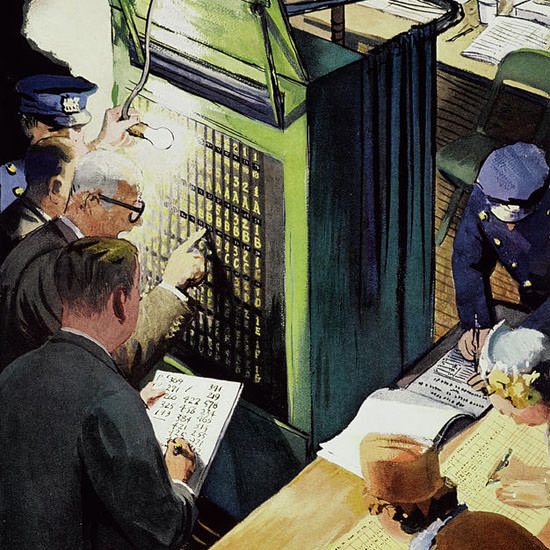 Arthur Getz The New Yorker 1955_11_03 Copyright crop | Best of Vintage Cover Art 1900-1970