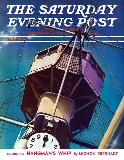 Arthur Radebaugh Saturday Evening Post Battleship Tower 1940_03_09 | The Saturday Evening Post Graphic Art Covers 1931-1969