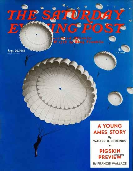 Arthur Radebaugh Saturday Evening Post Parachutes Sky 1941_09_20 | The Saturday Evening Post Graphic Art Covers 1931-1969