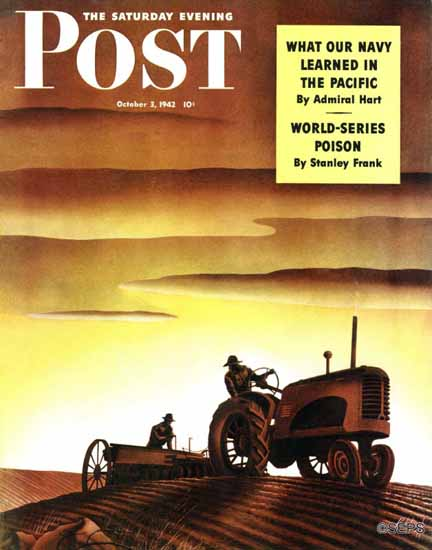 Arthur Radebaugh Saturday Evening Post Tractors at Sunset 1942_10_03 | The Saturday Evening Post Graphic Art Covers 1931-1969