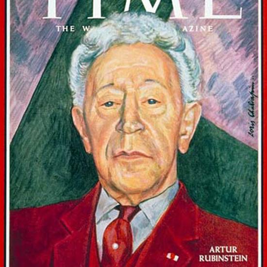 Artur Rubinstein Time Magazine 1966-02 by Boris Chaliapin crop | Best of Vintage Cover Art 1900-1970