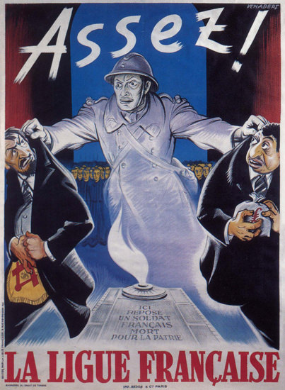 Assez La Ligue Francais France Xenophobia | Vintage War Propaganda Posters 1891-1970