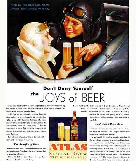 Atlas Beer Joys of Beer 1930s George Petty Sex Appeal | Sex Appeal Vintage Ads and Covers 1891-1970