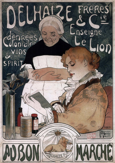 Au Bon Marche Delhaize Enseigne Le Lion Belgium | Vintage Ad and Cover Art 1891-1970