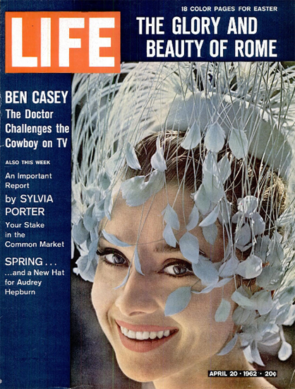 Audrey Hepburn Spring New Hat 20 Apr 1962 Copyright Life Magazine | Life Magazine Color Photo Covers 1937-1970