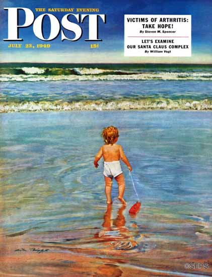 Austin Briggs Saturday Evening Post Baby at the Beach 1949_07_23 | The Saturday Evening Post Graphic Art Covers 1931-1969