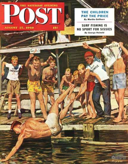 Austin Briggs Saturday Evening Post Wet Camp Counselor 1949_08_27 | The Saturday Evening Post Graphic Art Covers 1931-1969