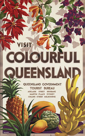 Australia Colourful Queensland Fruits 1950s | Vintage Travel Posters 1891-1970