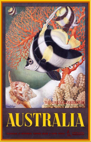 Australia Great Barrier Reef Fauna 1956 E Mayo | Vintage Travel Posters 1891-1970