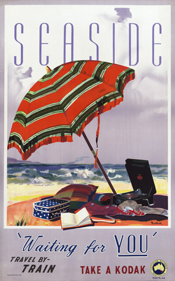 Australia Seaside Travel By Train Kodak 1930s | Vintage Travel Posters 1891-1970