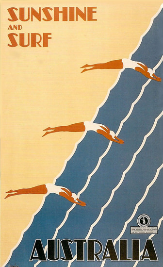 Australia Sunshine And Surf Beach 1931 Sellheim | Vintage Travel Posters 1891-1970