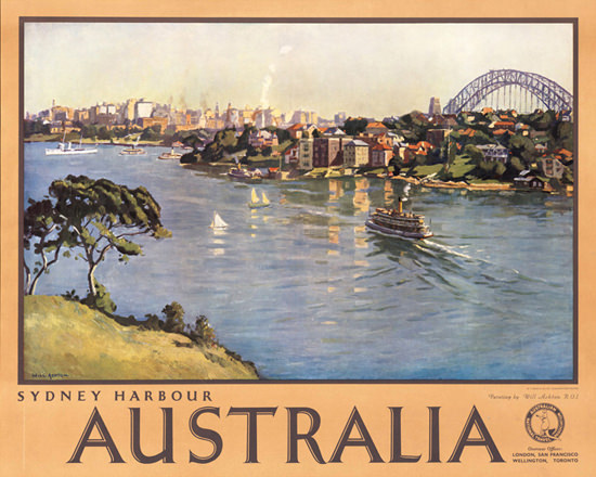 Australia Sydney Harbour 1935   Vintage Travel Posters 1891-1970