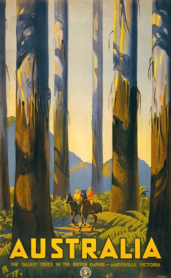 Australia Tallest Trees British Empire Victoria 1939 | Vintage Travel Posters 1891-1970