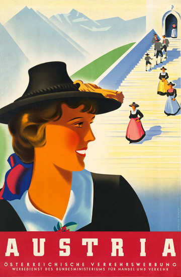 Austria 1930s Traditional Costumes | Vintage Travel Posters 1891-1970