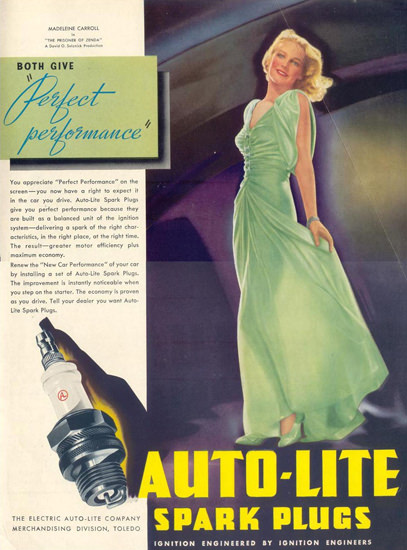 Auto-Lite Spark Plugs Madeleine Carroll 1937 | Sex Appeal Vintage Ads and Covers 1891-1970