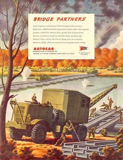 Autocar Trucks Bridge Partners 1943 | Vintage War Propaganda Posters 1891-1970