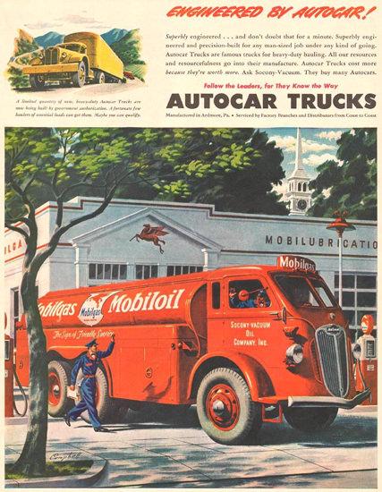Autocar Trucks Mobiloil Mobilgas 1941 | Vintage Cars 1891-1970
