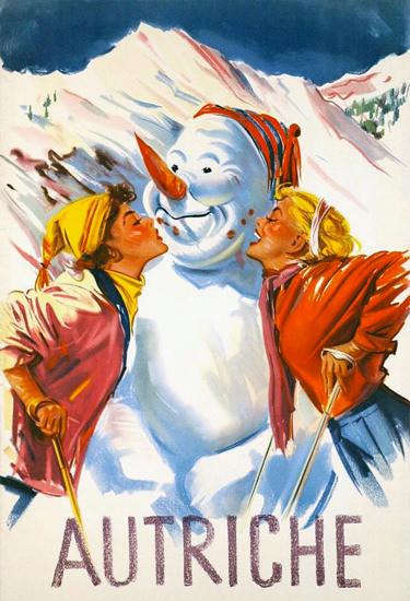Autriche 1950 Snowman Austria | Sex Appeal Vintage Ads and Covers 1891-1970