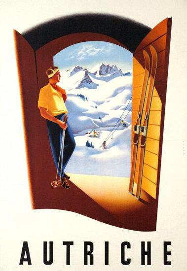 Autriche Alps Skiing 1950s Austria   Vintage Travel Posters 1891-1970