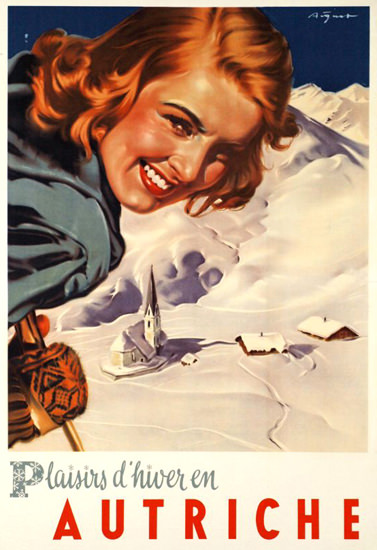 Autriche Plaisirs D Hiver 1950s Skiing Austria | Sex Appeal Vintage Ads and Covers 1891-1970