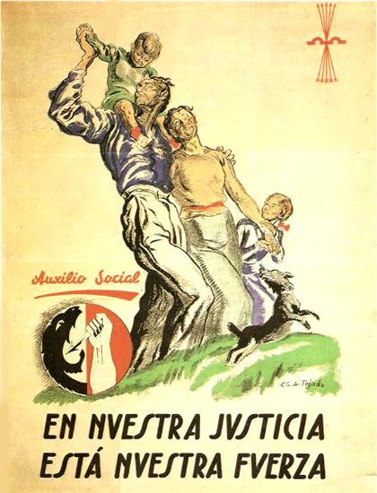 Auxilio Social En Nuestra Justicia Esta Fuerza   Vintage War Propaganda Posters 1891-1970