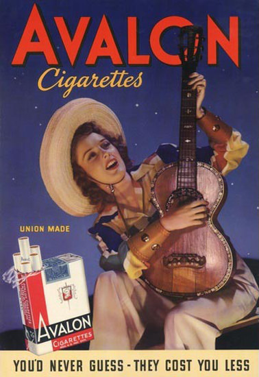 Avalon Cigarettes Cow Girl | Vintage Ad and Cover Art 1891-1970