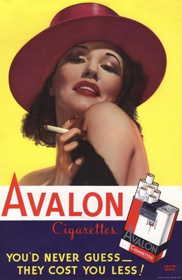 Avalon Cigarettes Pin Up Girl | Sex Appeal Vintage Ads and Covers 1891-1970