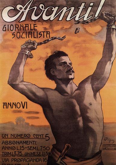 Avanti Giornale Socialista Journal Italy Italia | Vintage War Propaganda Posters 1891-1970