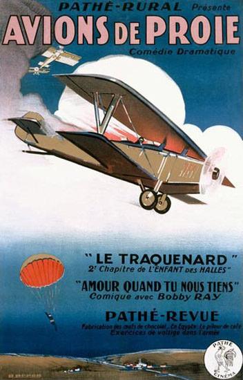 Avions De Proie Le Traquenard Pathe-Revue | Vintage Ad and Cover Art 1891-1970