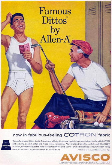 Avisco Cotron Famous Dittos By Allen-A 1959 | Sex Appeal Vintage Ads and Covers 1891-1970