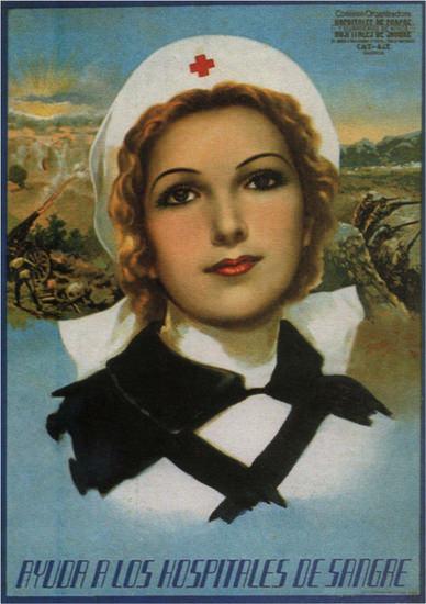Ayuda A Los Hospitales De Sangre Spain Espana | Vintage War Propaganda Posters 1891-1970